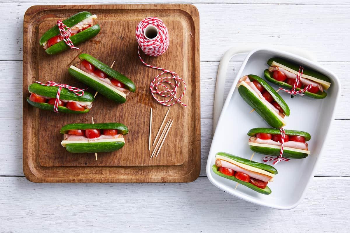 Ham Cheese & Solanato Qukes Sandwiches
